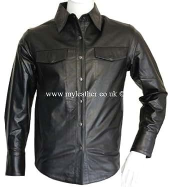 Mens Classic Full Sleeve Black Leather Shirt (S)