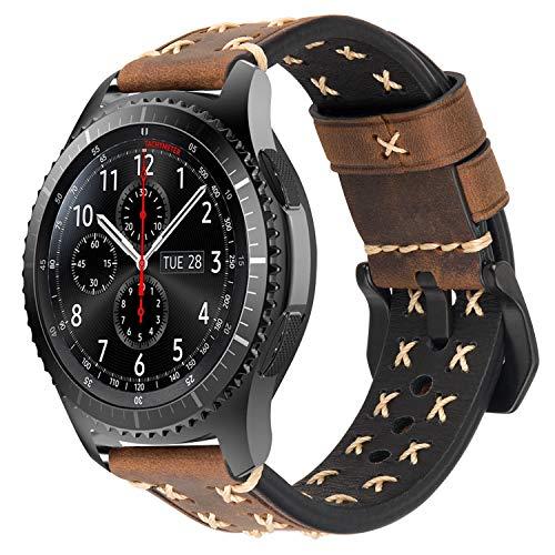 iBazal Gear S3 Frontier Classic Armband Leder Armbänder Uhrenarmband 22mm Lederband Ersatz für Galaxy Watch 46mm SM-R805/800,Huawei GT/Honor Magic/2 Classic,Ticwatch Pro Herren Uhr Band - Kaffee (Uhr 22 Leder Band)