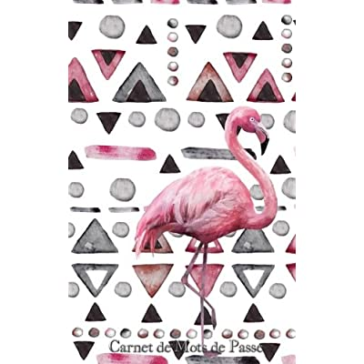 Carnet de Mots de Passe: A5 - 98 Pages - 193 - Watercolor - Flamant Rose - Motifs Geometriques