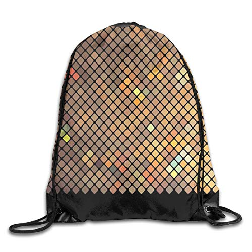 PPOOia Drawstring Backpacks Bags Daypacks,Vibrant Mosaic of Diagonal Squares with A Black Finish Celebration Event Theme,5 Liter Capacity Adjustable for Sport Gym Traveling Diagonale Finish