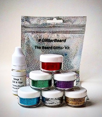 Glitterbeard-6-COLOUR-SET-Beard-Glitter-Kit-Beard-Oil-Glitter-Festivals-Christmas-Party