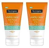 Neutrogena Visibly Clear Anti-Pickel 2-in-1 Reinigung & Maske – Reinigung und Gesichtsmaske mit Tonerde gegen unreine Haut und Pickel – 2 x 150ml