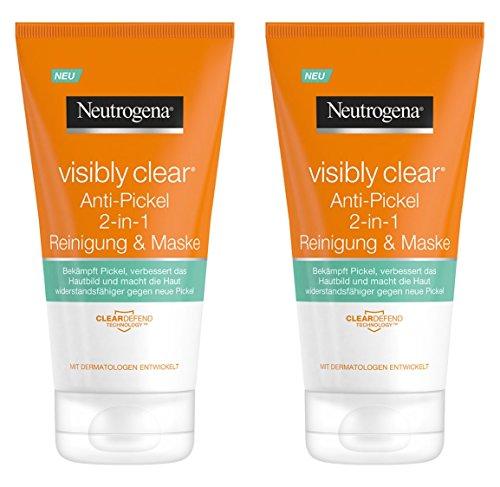 Neutrogena Visibly Clear Anti-Pickel 2-in-1 Reinigung & Maske - Reinigung und Gesichtsmaske mit Tonerde gegen unreine Haut und Pickel - 2 x 150ml - Gesichtsreinigung Maske