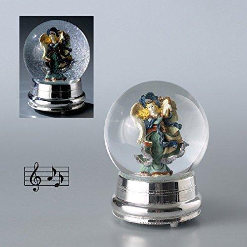 Ange en boule de neige verre c/boite a musique base en silver plated