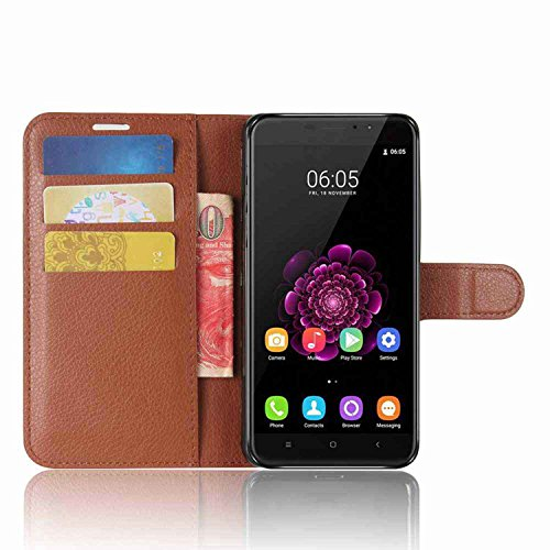 Tasche für Oukitel U20 Plus Hülle, Ycloud PU Kunstleder Ledertasche Flip Cover Wallet Case Handyhülle mit Stand Function Credit Card Slots Bookstyle Purse Design braun