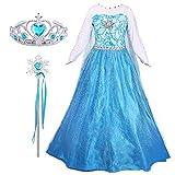 FStory&Winyee Prinzessin ELSA Kostüm Kinder Mädchen Eiskönigin Kleid Set Krone Zauberstab Cosplay Verkleidung Blau 100-150 Lang Blumen Partei Karneval Weihnachten Geburtstagsparty Fasching Geschenk