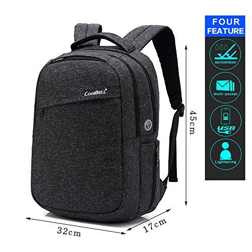 HXSS Laptop Tasche Slim Anti Diebstahl Computer Reise Rucksack Wasserdicht bis 15,6 / 17,3 Zoll schwarz / grau / Blau schwarz3