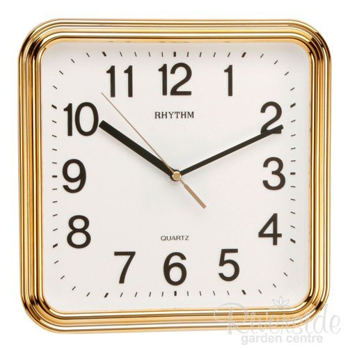 RHYTHM Square Silent Movement Wall Clock, 25cm, Gold & White Silent Wall Clocks