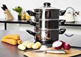 from Morphy Richards Morphy Richards Equip 3 Tier Steamer, Stainless Steel, 18 cm Model 973512