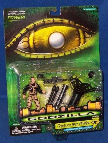 Godzilla - 08565 - 1998 Genuine Godzilla - Capture Net Phillipe - Action Figur - ca. 10 cm - mit Waffen und Netz-Werfer- OVP