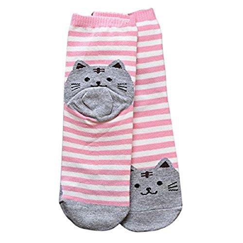 Sannysis Frauen 3D Katze Abdruck Fußboden Gestreifte Karikatur Socken (Rosa)