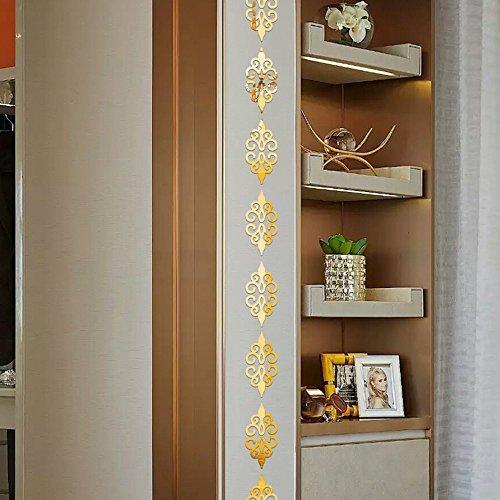 Pegatinas Pared Decorativas Flores 3D DIY Acrílico Etiqueta De La Pared Niños Dormitorio Decoración Chica Niños Decoración Moderna Oro
