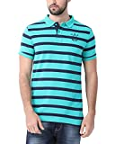 Classic Polo Striped Turquoise T-shirt for Men