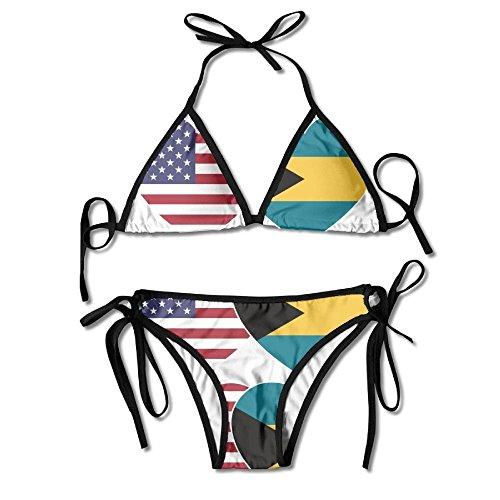 hangyuxingbang Women's Bathing Suit Adjustable BAHAMAS USA Flag Twin Heart Sexy Bikini Set 2 Piece