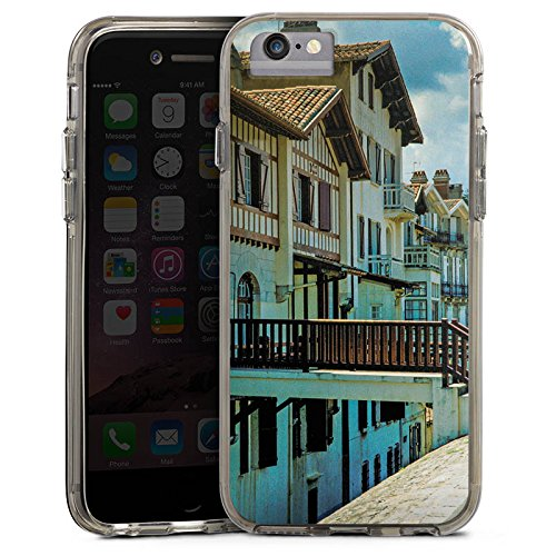 Apple iPhone X Bumper Hülle Bumper Case Glitzer Hülle Fachwerkhaeuser Gebaeude Brücke Bumper Case transparent grau