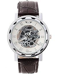 Reloj de pulsera - SODIAL(R)(Banda marron y esfera de color de plata) Reloj de pulsera de cuero de imitacion no de mecanico para hombres