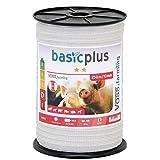 Voss.farming Nastro per Recinzione elettrica, Lunghezza 250 m e Larghezza ca.10 mm, con Fili in Acciaio Inox 4 x 0,16, Colore Bianco
