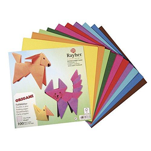 RAYHER 71831000 Origami-Faltblätter, FSC mix Credit, 15 x 15 cm, 80 g/m², 100 Blatt
