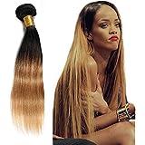 THATSYOU Straight Hair Peluca Cabello Humanos Naturales 1B27 # Tejeduría Brasileño Black/Blonde Body Wave Human Hair Weaves (1PCS 20inch)