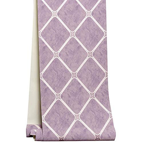 Tapete Wandtattoo Wandsticker Europäischen Stil 3D Diamantgitter Vliestapeten für Wohnzimmer TV Hintergrund Dekor Tapete moderne Schlafzimmer Wand paper@Purple_5.3㎡ (Purple-schlafzimmer-wand-dekor)