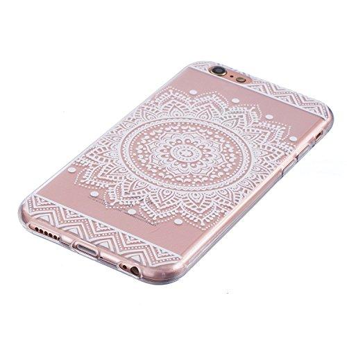 Für iPhone 6 Plus/6S Plus 5.5 Zoll [Scratch-Resistant] Weichem Handytasche Weich Flexibel Silikon Hülle,Für iPhone 6 Plus/6S Plus 5.5 Zoll TPU Hülle Back Cover Schutzhülle Silikon Crystal Kirstall Dur Mandala,Weiß
