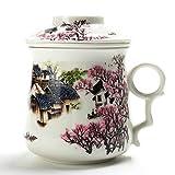Chinesischer Tee-Becher (410 ml) mit Infuser und Deckel, Asiatischer Porzellan-Stahl-Filter, Teetassen-Hersteller, Brauen Steiles Sieb, großer Brauen-Frauen-Vati-Erwachsen-Arbeit Weißer Loseblatt