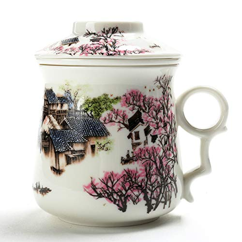 Chinesische Tee Tasse (310 ml) mit Sieb Infuser und Deckel und Untertasse. 4 Stück Set Japan Keramik Große weiße steilere Diffusor-System Filter Steepe Frauen Mom Geschenk rot, China Infused Teetasse (Feine China-tee-tassen-set)