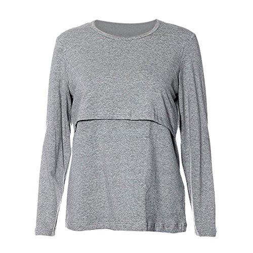 Zolimx Schwangere Mutterschaft Kleidung Krankenpflege Tops Stillen Langärmeliges T-Shirt (L, Grau) (T-shirt Top Mutterschaft)