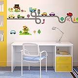 Wallpark Wallpark Cartoon Road Traffic Transportation Cars Removable Wall Sticker Decal Children Kids Baby Home Room Nursery DIY Decorative Adhesive Art Wall Mural