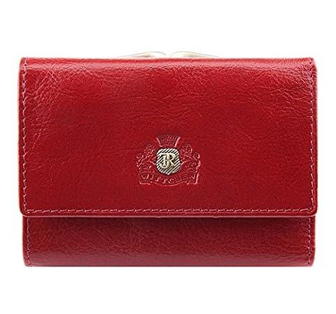WITTCHEN Damen Geldbörse Portemonnaie, 2x11x8cm, Rot, Naturleder, Leder, Handmade, 22-1-053-3