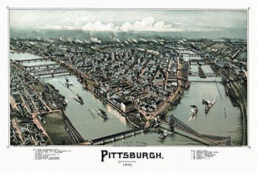 County Pittsburgh Pennsylvania (The Poster Corp Antique Map of Pittsburgh Pennsylvania 1902 Allegheny County Kunstdruck (60,96 x 91,44 cm))