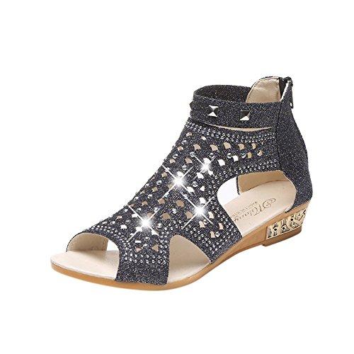 Frühling Sommer DamenSandalen mit Keilabsatz ModeFischmaul Hohl Strass Roma Schuhe (Cowgirl Hochzeit Die Stiefel Für)