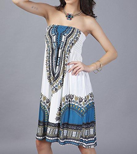 Vestito Corto Donna Elegante Hippie Etnico Stampati Senza Spalline Abiti da Spiaggia Boho Chic Lake Blu