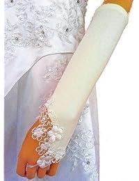 LadyMYP© Brauthandschuhe mit kleinen Blüten aus Satin, Tüll und Perlen, fingerlos, in ivory /weiß