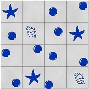 30 Sea shels de mer, étoiles, Bulles stickers carrelage 5 cm x 5,5 cm - 11 pcs, 8 cm x 8 cm - 7 pcs, 4,5 cm x 4,5 cm - Couleur Azure_Blue les carreaux de salle de bain de 12 psc autocollants cuisine de vinyle carreaux de toilette Stickers muraux Stiker Windows et autocollants muraux d'art de Windows Stickers ornement autocollant de vinyle FavoriteStiker