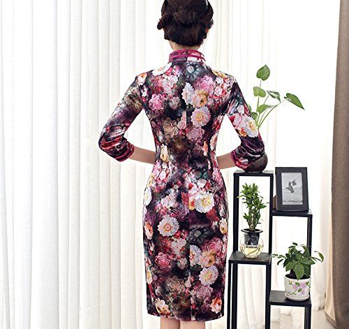 YueLian Cheongsam a Ginocchio a 3/4 Maniche Vestito Velluto a Fiori Colorati Viola