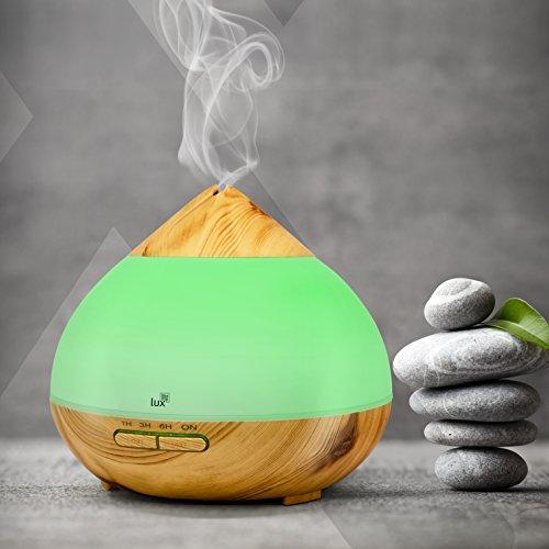 Aroma Diffuser 300ml Likemylux Ultraschall Duft ÖL Diffusor Holz Optik Maserung Raum – Luftbefeuchter Aromathearpie Duftlampe 7 Lichtfarben LED Stimmungslicht Nebelstufe wählbar