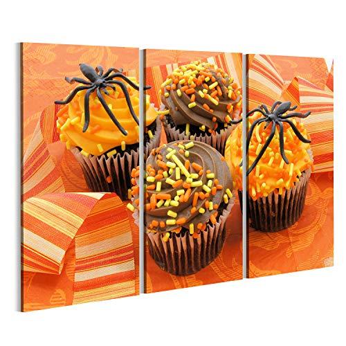 islandburner Bild Bilder auf Leinwand Halloween Cupcake behandelt auf Orange Gemusterten Hintergrund Wandbild, Poster, Leinwandbild NHS