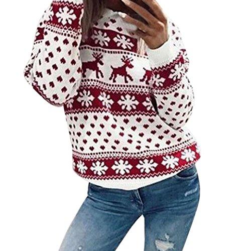 *Christmas Pullover Bluse Tops Damen Weihnachten Blumen Drucken langarm Sweatshirt cute Hemd Mantel weihnachtspullover rentier Fashion Pulli warme elegante T-shirt Elecenty (Rot, S)*