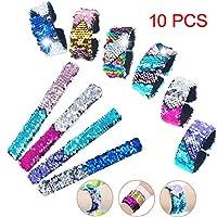 Hotupark 10 Pcs Magic Sequins Mermaid Bracelets 2-Color Reversible Glitter Sequin Slap Bracelets Charms Wristband for Kids Little Mermaid Birthday Party Favors Bags Fillers (Random Colors)