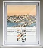 INDIGOS UG Sichtschutzfolie Glasdekorfolie Fensterfolie mit Motiv satiniert blickdicht - E257 Roller matic - 1000 mm Länge - 500 mm Höhe Streifen