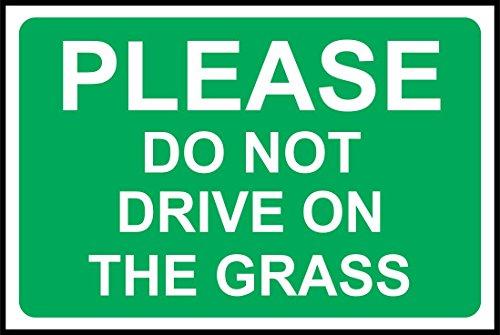 INDIGOS UG - Aufkleber - Sicherheit - Warnung - Please do not drive on the grass safety Zeichen 30x20 cm - Sticker für Büro, Firma, Schule, Hotel, Werkschutz -