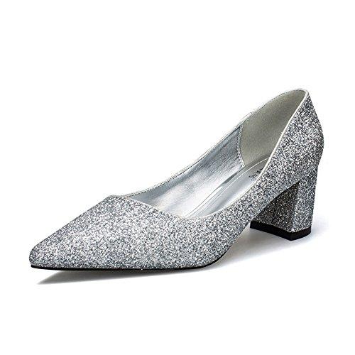 9ee258f0cf69 Damen Pumps Slip On Spitz Zehen Arbeitschuhe Blockabsatz OL Elegant Party  Schuhe Silber,Pailletten