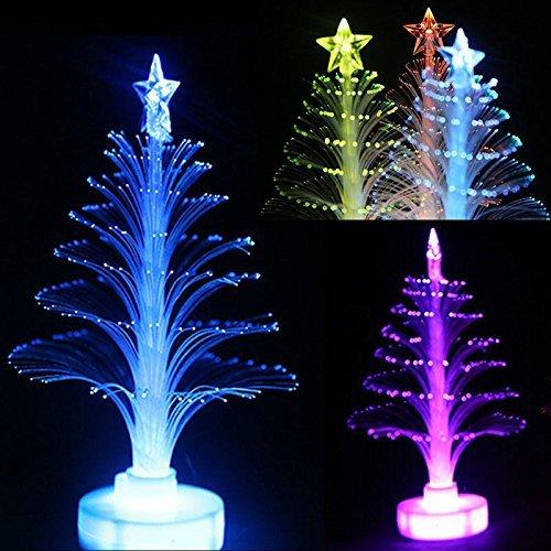 3 Pezzi Lampada del'albero di Natale con 7 colori Cambia Colore LED Fibra Ottica Fiore Luce Fantastica Top Star