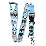 Cinta para el cuello multicolor para tarjetas de identificación, con cierre de metal, color Dog Breeds