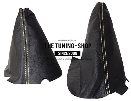Per Chevrolet Corvette C6 2005 - 2013 Gear e freno a mano in vera pelle nera cuciture gialle - Chevrolet Corvette Brake