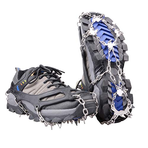 Azarxis Walk Traction Ice Snow Cleat Treads Grips Grippers Crampons Creepers with 19 Spikes for Shoes Boots Men Women Walking Climbing Hiking Fishing Heavy Duty Anti Slip Stainless Steel
