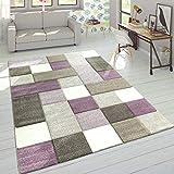 Paco Home Designer Teppich Modern Konturenschnitt Moderne Pastellfarben Kariert Beige Lila, Grösse:120x170 cm