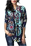 Minasan Summer Fashion 3/4 Sleeve Floral Print Ruffle T Shirt Summer Casual Blouse Tops for Ladies Women XL