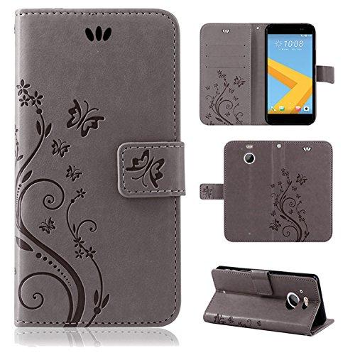 betterfon | Flower Case Handytasche Schutzhülle Blumen Klapptasche Handyhülle Handy Schale für HTC 10 Evo Grau